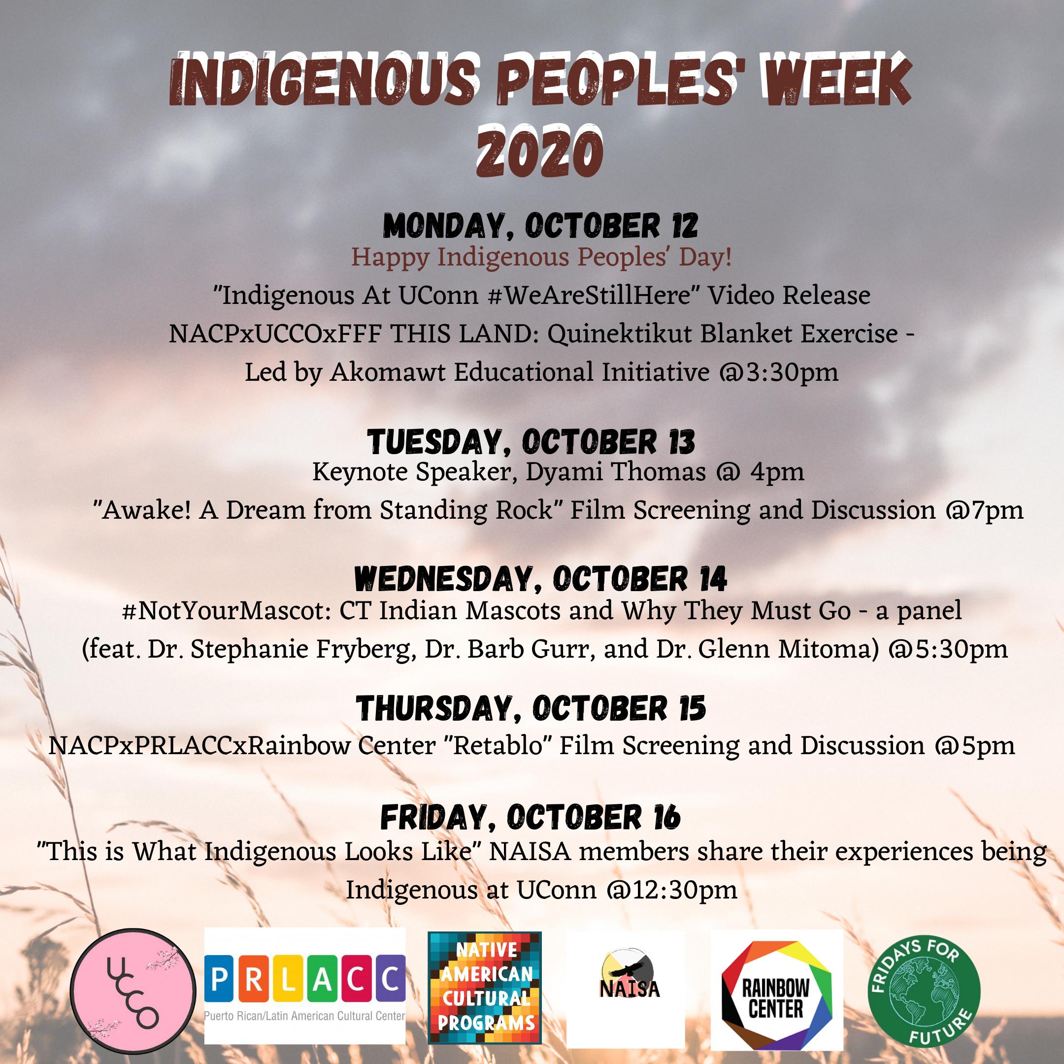 Indigenous Peoples' Week Event Calendar