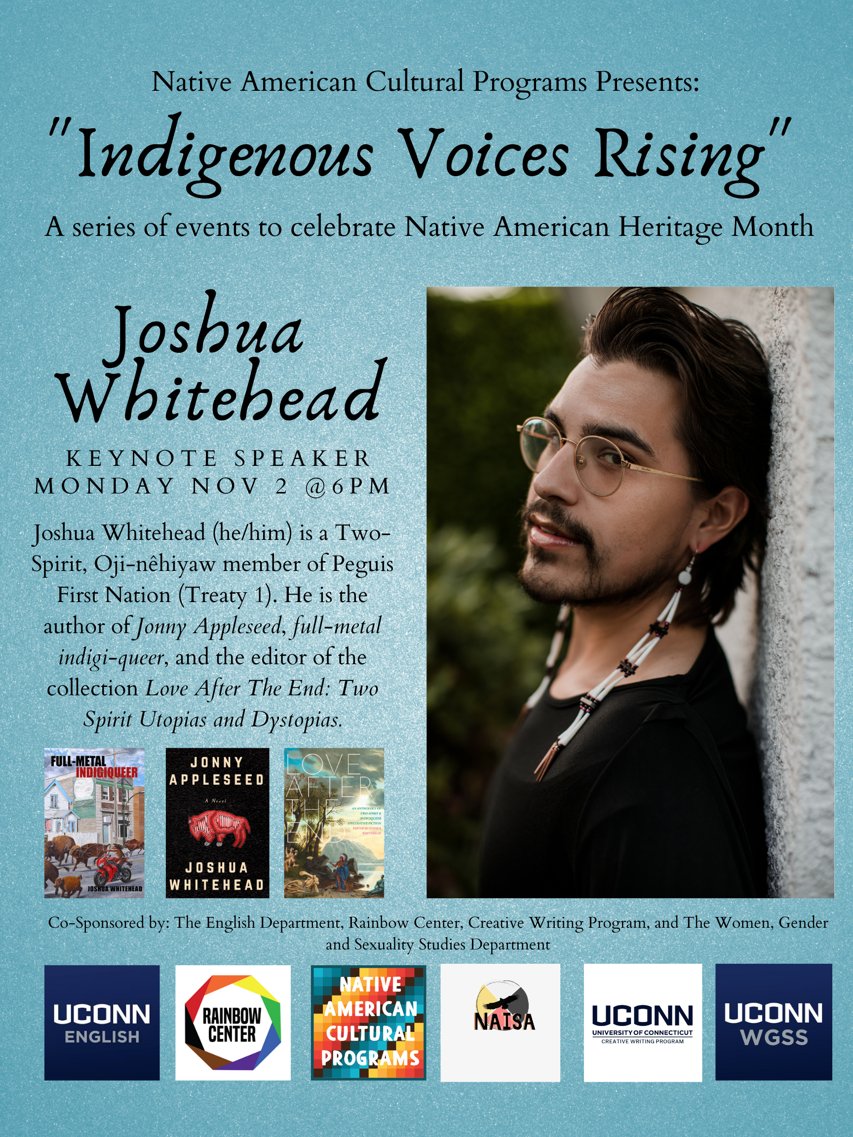 OUR FEATURED EVENT… Joshua Whitehead: a keynote speech and reading, Monday Nov. 2, 6pm via Zoom